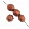 Czech Fire polished 4mm Light copper Metallic